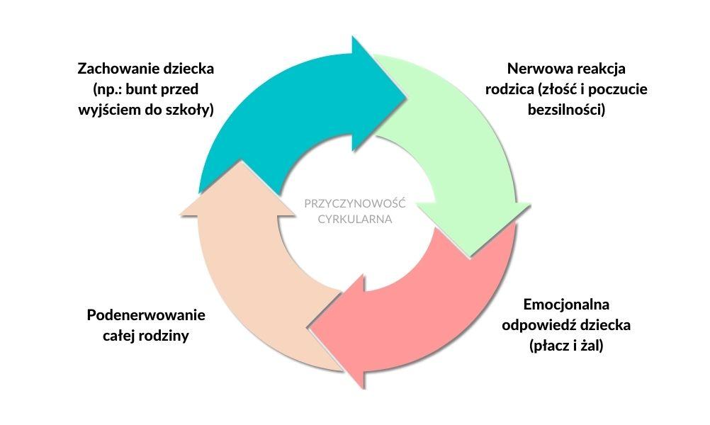 Schemat przedstawiający zjawisko przyczynowości cyrkularnej w systemie rodzinnym